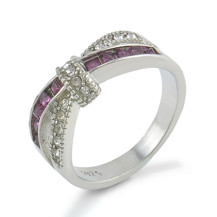 Purple Rhinestone Cross Ring Female Silver Crystal Anelli Ring Wedding Engagement Rings For Women Anel Jewelry Size 6 7 8 9 10