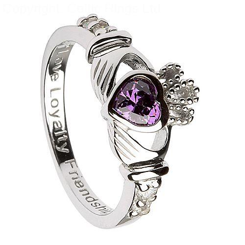 Silver Claddagh Ring with Amethyst - February Birthstone
