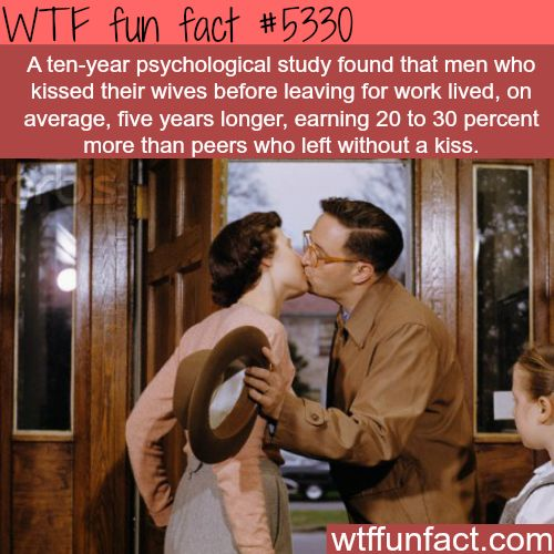 Men who kiss their wife before work: Live longer, & make more money! - Hmm! ...Gonna get back to you on this one!  ~WTF fun facts