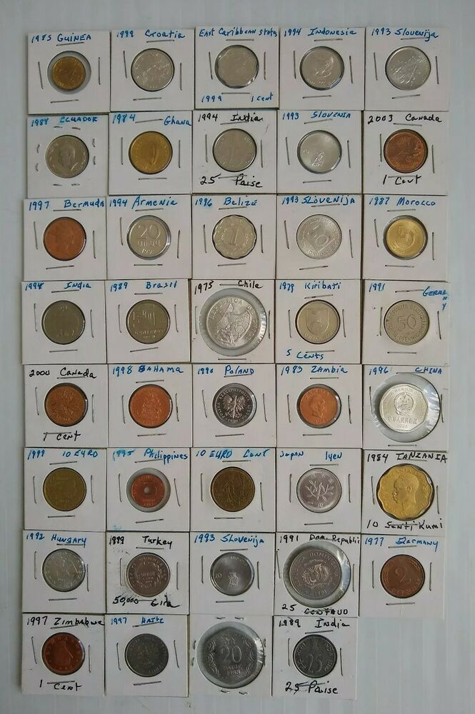 Lot Of World Foreign Coins Different Countries 39 Coins