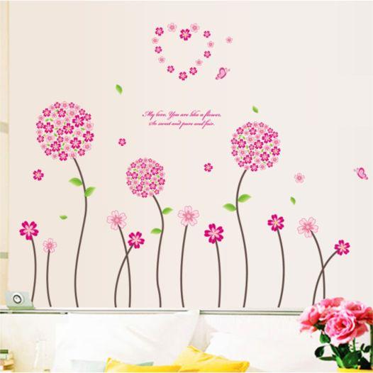 Hemdekor - Väggdekor Rosa Blommor