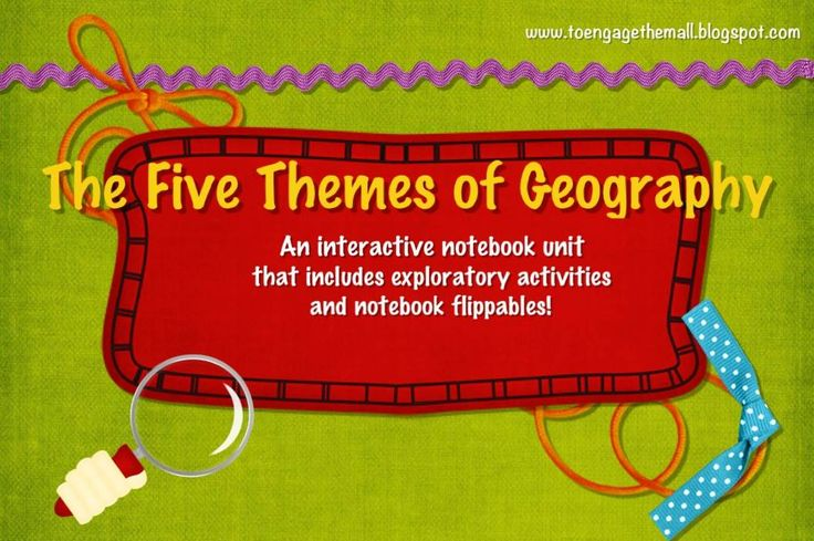 Five Themes of Geography: Interactive Notebook Unit and Notebook Flippables Notes, flippables, activities, Power Points and a final project included!!!!