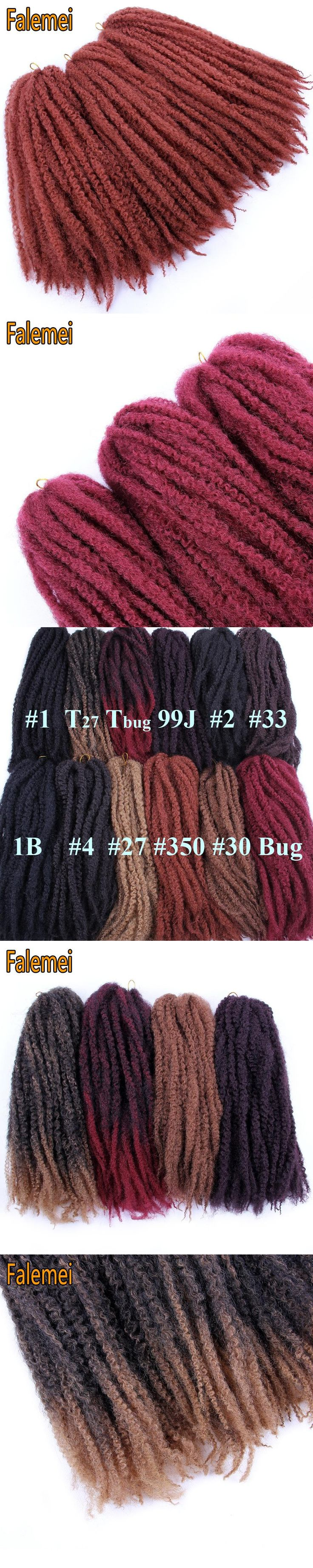 FALEMEI 18inch 100gpack Synthetic Afro Kinky Marley Crochet Braids Hair Extensions Low Temperature Fiber synthetic crochet hair