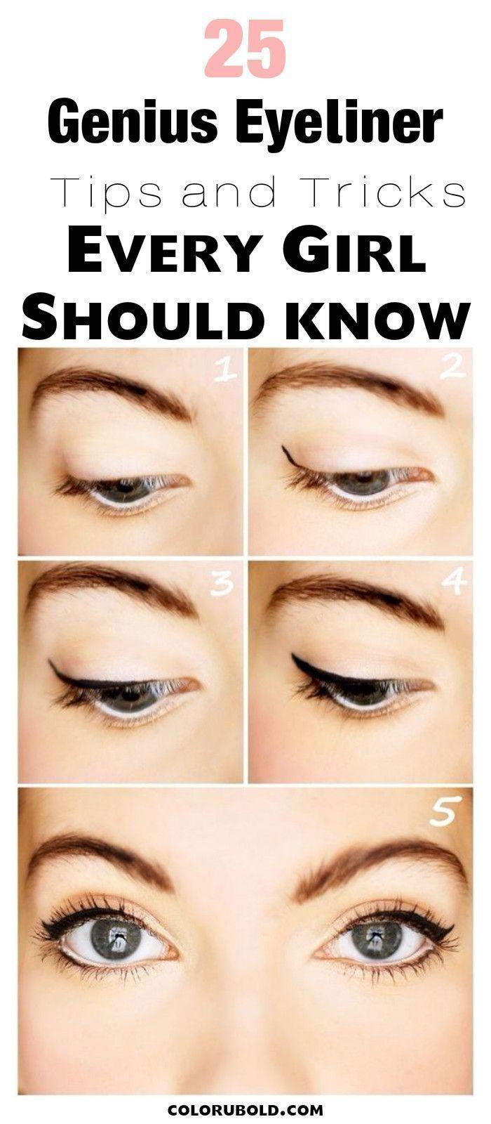 Eyeliner tips and tricks for beginners #eyemakeupforbeginners #cattipsandtricks