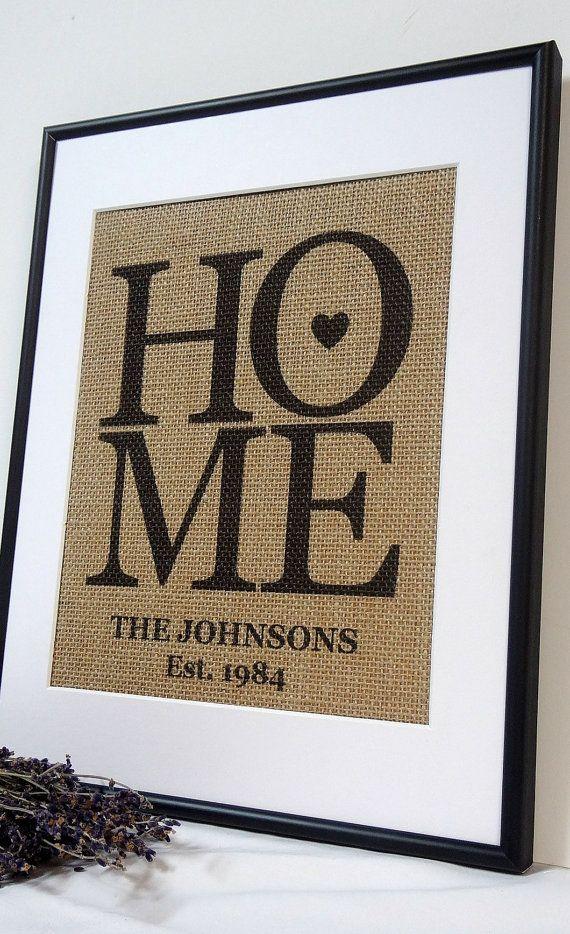 Personalized Burlap Love Housewarming Gift Print