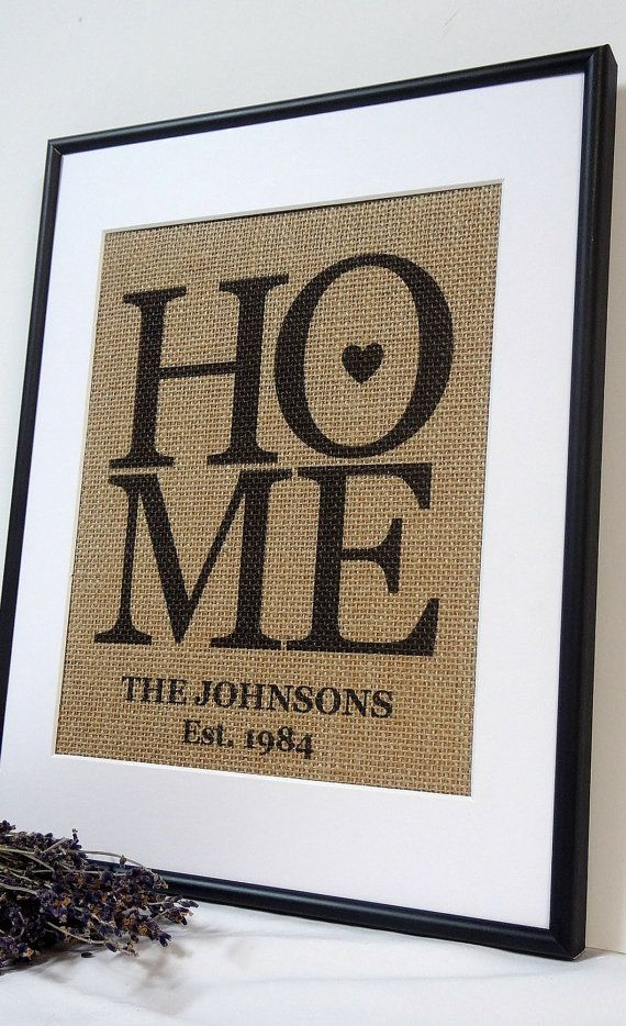 Personalized Burlap Love Housewarming Gift By