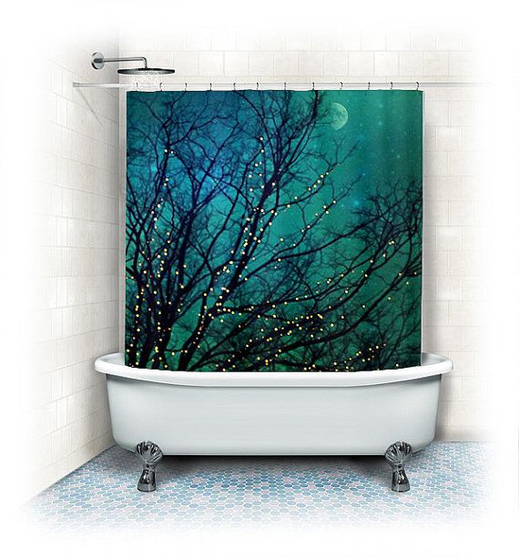 "Shower Curtain ""Magical Night"" clouds,lights,stars,sky, night, trees,aqua,turquoise,blue, teal, bathroom, home decor,twinkle,nature on Etsy, $62.00"
