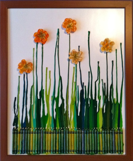 Definitely going to try this melted crayon art thing.: Art Idea, Melted Crayon Art, Melted Crayons, Craft Ideas, Crayon Flower, Kid, Crafts