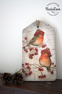 decoupage na deseczce - świąteczne ptaszki - upcycling deski do krojenia