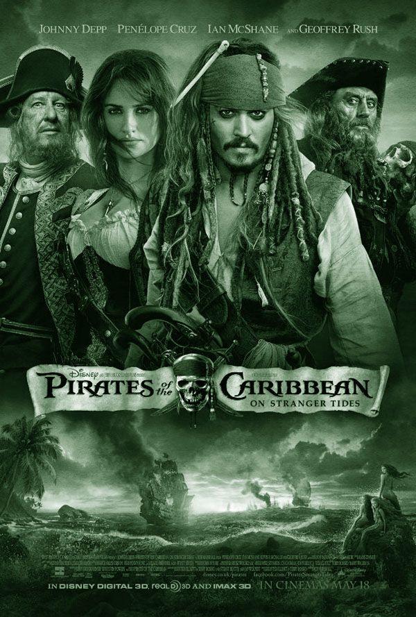 PIRATES OF THE CARIBBEAN - ON STRANGER TIDES: Een Amerikaanse fantasy/avonturenfilm uit 2011. Het is de vierde film in de Pirates of the Caribbean-filmserie, met in de hoofdrol Johnny Depp als Jack Sparrow. Deel 4 is het eerste deel dat in 3D is opgenomen. Andere rollen in de film worden vertolkt door Penélope Cruz, Ian McShane en Geoffrey Rush. De film is gedistributeerd door Walt Disney Pictures.
