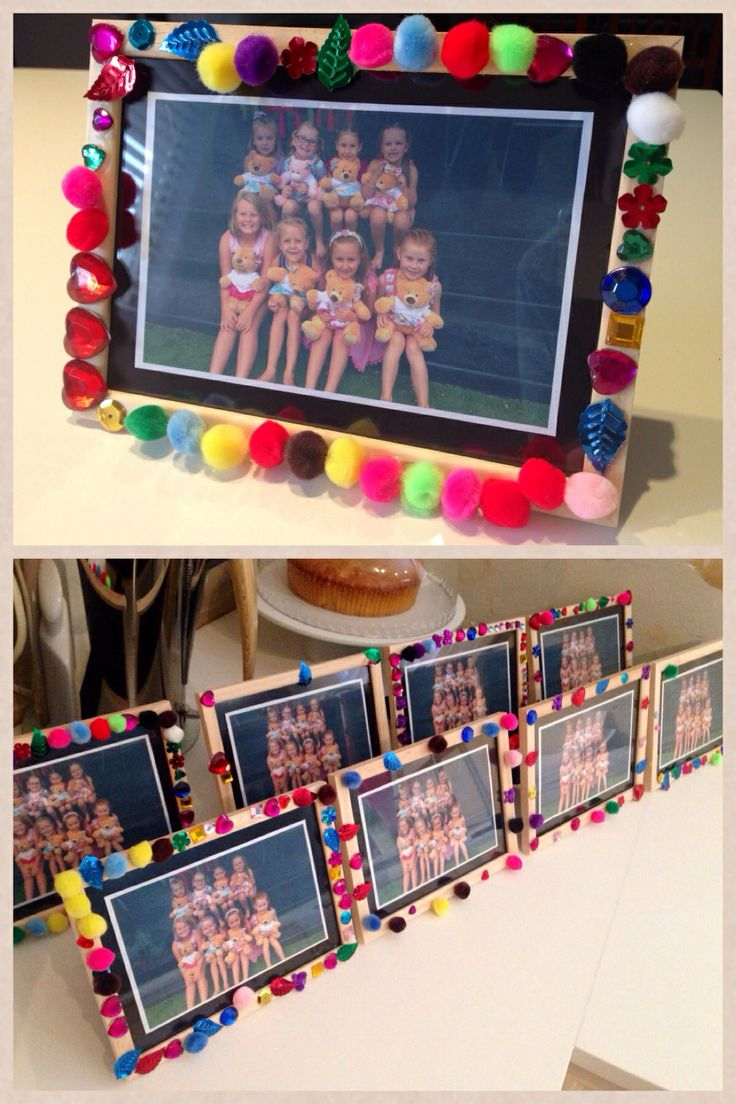 Diy kids photo frame decorating. A great way to remember a party. In this case it was a 6th birthday sleepover where the girls stuffed and dressed their own teddies. For most of the girls it was their first sleepover/slumber party as they had just finished their first year of school...in the morning once the glue had dried I popped in a lovely pic of them all together with their bears