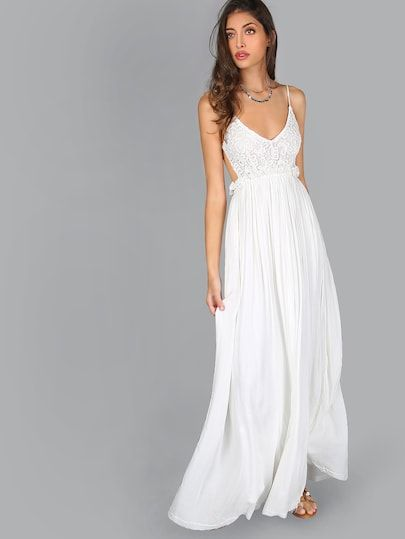 dbb3890557 Shop Lace Overlay Backless Pleated Maxi Dress online. SheIn offers Lace  Overlay Backless Pleated Maxi Dress   more to fit your fashionable needs.