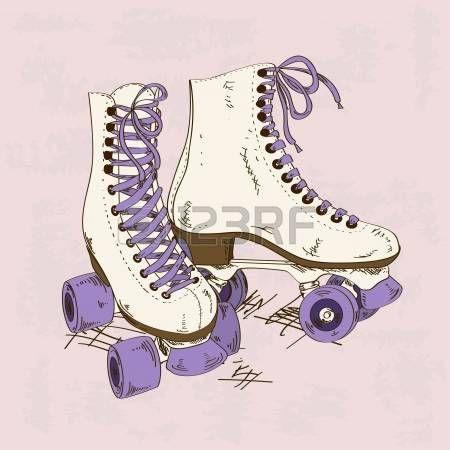 pattinare: Illustrazione con pattini a rotelle retrò su uno sfondo grunge