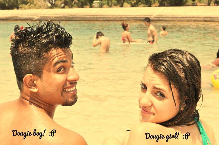 Dougie girl and boy having fun in the beach! :))