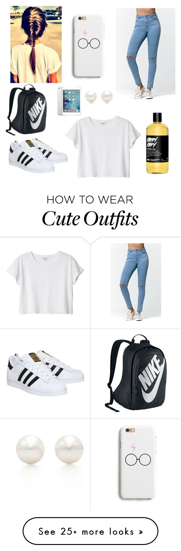 School Outfit by janelingodfrey on Polyvore featuring Bullhead Denim Co., adidas, Monki, NIKE, Apple and Tiffany  Co. ,Adidas Shoes Online,#adidas #shoes