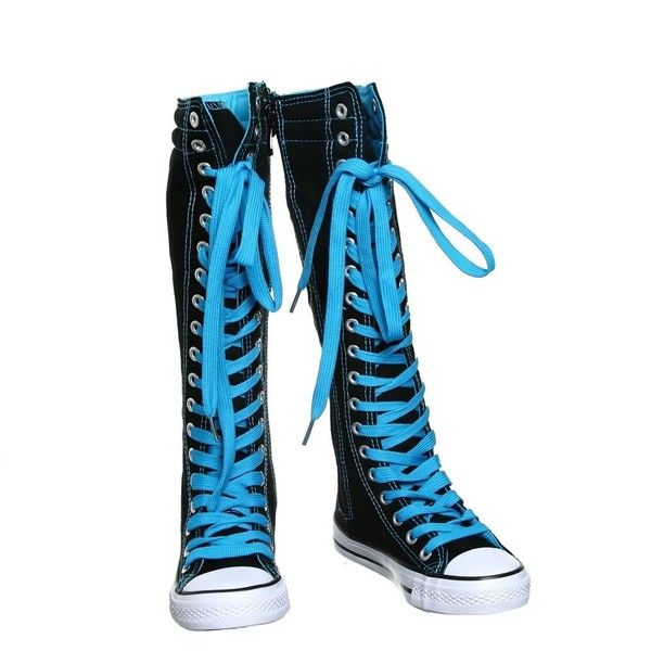 NEW Canvas Sneakers Flat Tall Punk Skate Shoes Lace up Knee High Boots... ($9.99) ❤ liked on Polyvore featuring shoes