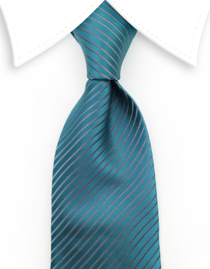 Teal Tie with Silver Stripes