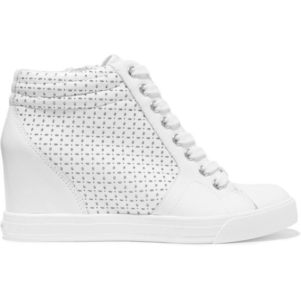 DKNY Cindy perforated leather wedge sneakers (1.221.570 IDR) ❤ liked on Polyvore featuring shoes, sneakers, white, white platform shoes, hidden wedge sneakers, white wedge sneakers, lace up wedge sneakers and platform sneakers