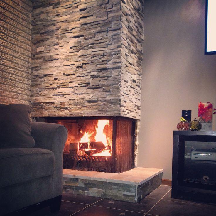Home Depot Design Ideas: DIY Fireplace- Home Depot Stacked Stone DIY Fireplace Base