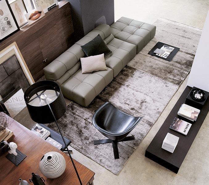 Modern Sofa Design Ideas from B Italia : Modern Soft Grey Sofa and Unique Black Lounge Chair in Classy Living Room Decor