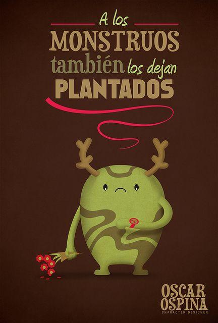 Dejar plantado a alguien - No acudir a una cita.  Ilustración de Óscar Ospina.