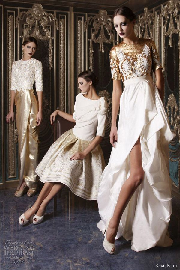 Rami Kadi 2013 haute couture white gold wedding dresses
