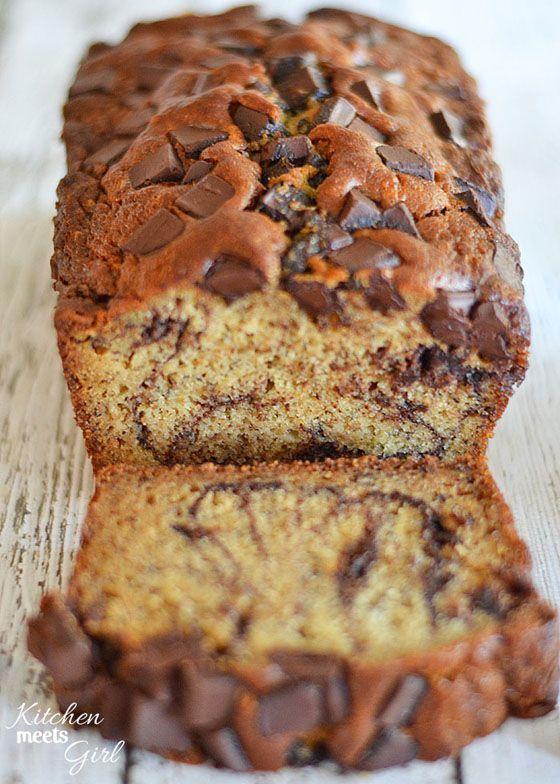 Dark Chocolate Peanut Butter Banana Bread..