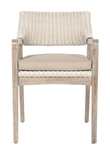 """Dimensions: W:22"""" D:24"""" H:31.5 Seat height: 18"""" Arm height: 25"""" Removable upholstered seat cushion All-weather fabric cushion Please allow 2-3 weeks"""