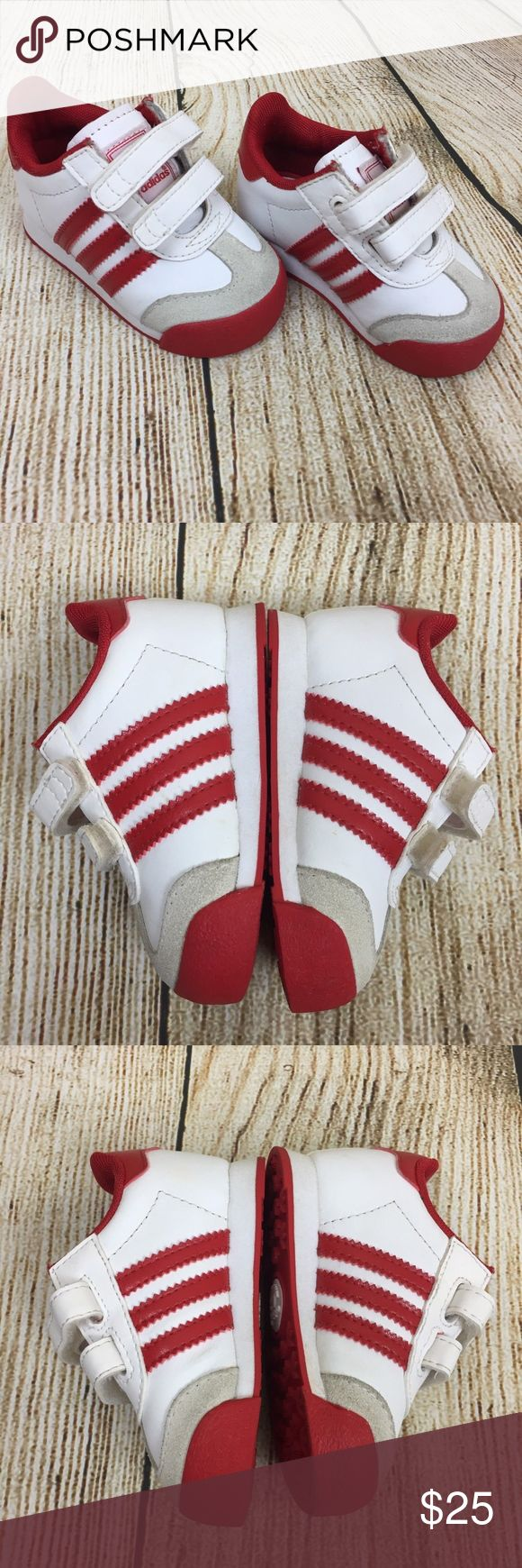 Adidas AdiFit Baby Toddler Shoes Red White ADIDAS AdiFit Baby Toddler Unisex Athletic Sneakers Size 4K White Red EUC  Size: 4K Brand: Adidas Condition: Excellent pre-owned condition Ships in 24 hours adidas Shoes Sneakers