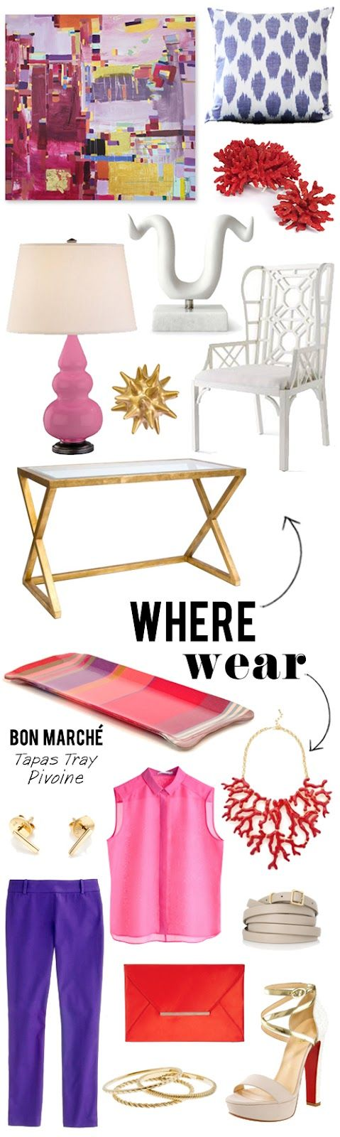 Where/Wear {Eye Poppin' Color}, pink, coral, amethyst, gold, white, lavender: Color, Gold Table, Apartment 34, Eye