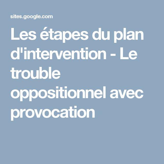 Les étapes du plan d'intervention - Le trouble oppositionnel avec provocation