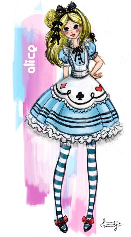 Alice Disney fashion sketches by Jenny Chung, via Behance