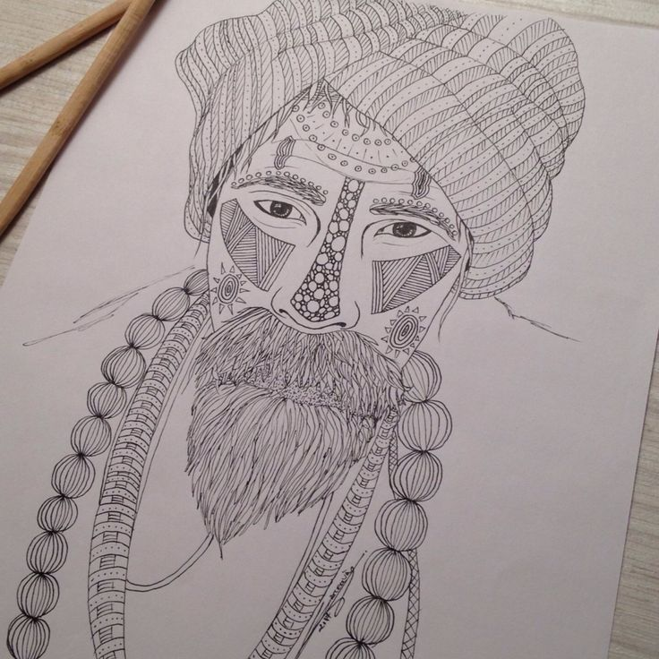 My drawing, Tribal 015, portrait of a man. You like my picture ?