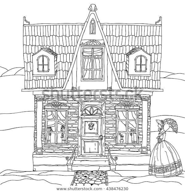 Black White Illustration House Details Adult Stock Vektorgrafik Lizenzfrei 438476230 In 2020 Vektorgrafik Bilder Illustration
