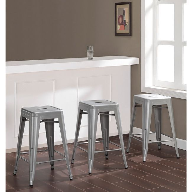 clothes fashion With its sturdy steel construction this 100 percent metal stool offers a modern look in silver  The Tabouret counter height stool arrives fully assembled  features a scratch  and mar residtant powder coated finish  and is stackable