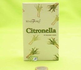 StamFord Citronella - 15 Cones - kegeltjes   Deze wierook bevat Citronella olie dat zeer effectief is tegen muggen. De Stamford Citronella wierook heef een frissen geur en een bedauwd aroma.