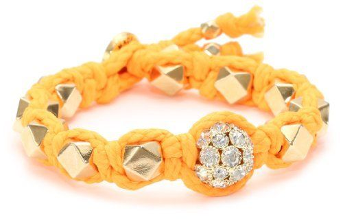 Ettika Orange Cord with Faceted Beads and Large Rhinestone Ball Bracelet Ettika. $87.45. Items that are handmade may vary in size, shape and color. Made in United States