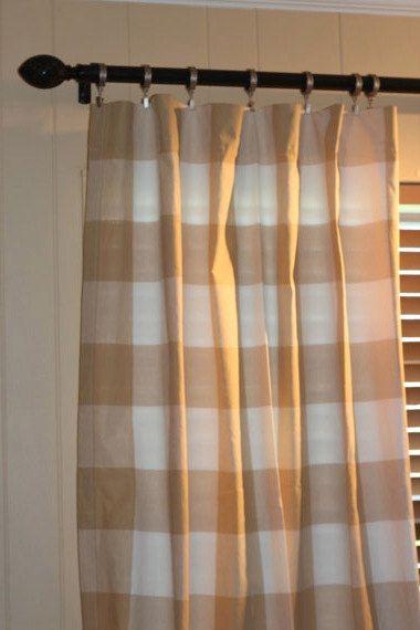 Large Buffalo Check Curtains. P. Kaufmann by BELLASHOMEDECOR