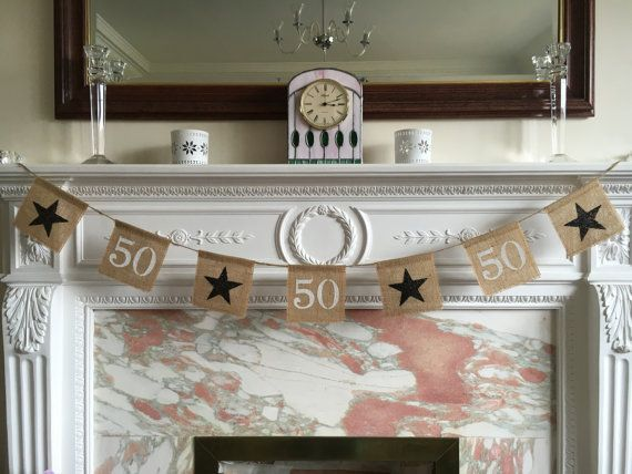 Burlap 50th birthday or anniversary burlap by FreshwellsDesigns
