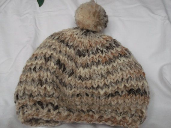 Hand knitted Beanie hat by Megshomeknitting on Etsy, £12.00