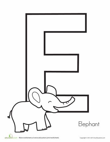 Worksheets: E is for Elephant