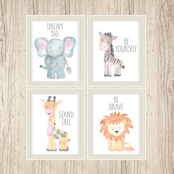 Watercolor Zebra Nursery Art Safari Art Zoo by AdorenStudio
