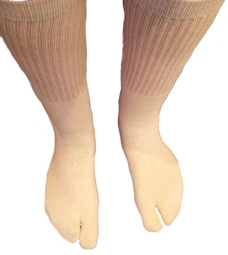 Hand-Dyed Medium Beige Tall Tabi Socks by tabilady on Etsy