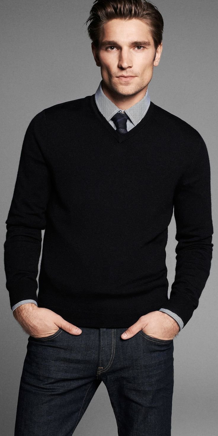 Fall / Winter - business casual style - casual style - black and gray stripped shirt + dark tight tie + black v-neck sweater + dark denim jeans