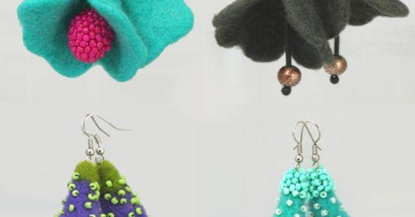 Felted flower earrings. | cercei | Pinterest | Trumpet, Earrings and Flower