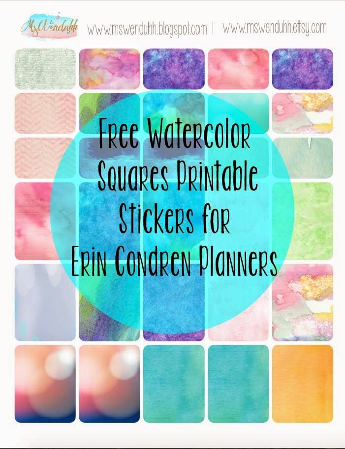Free Printable Stickers: Watercolor Squares for Erin Condren Planners