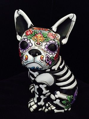 Day-of-the-Dead-Painted-Sugar-Skull-French-Bull-Dog-Statue-Figurine-Pet-Urn