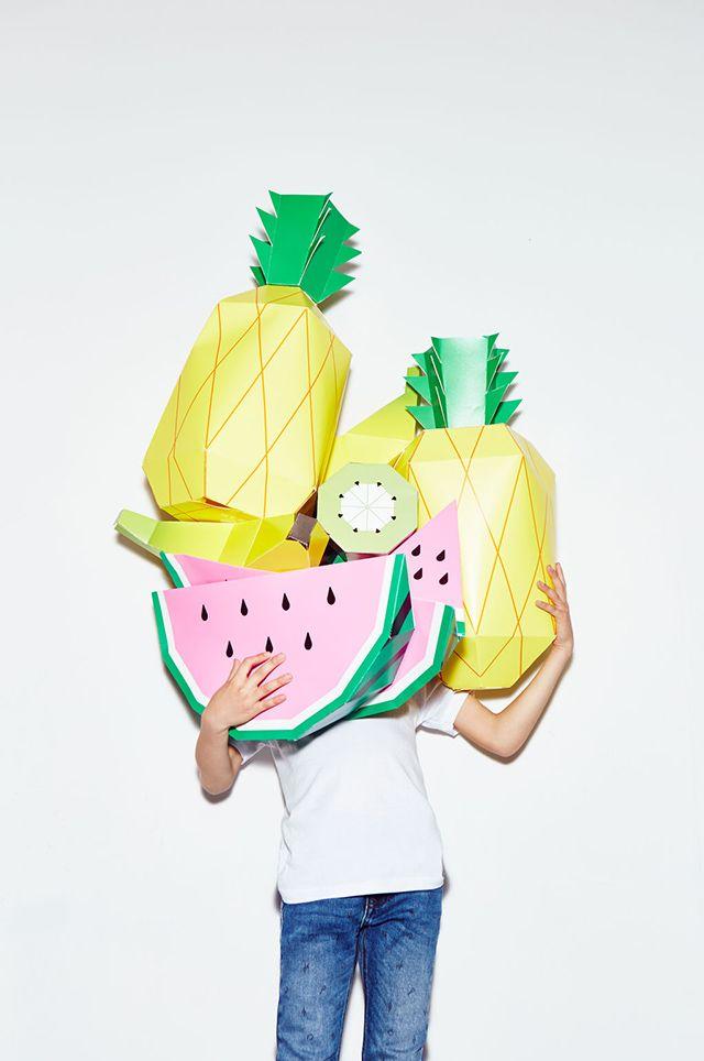 Zara Kids Denim Lookbook / featuring MR P giant tropical paper fruit from mrpshop.com
