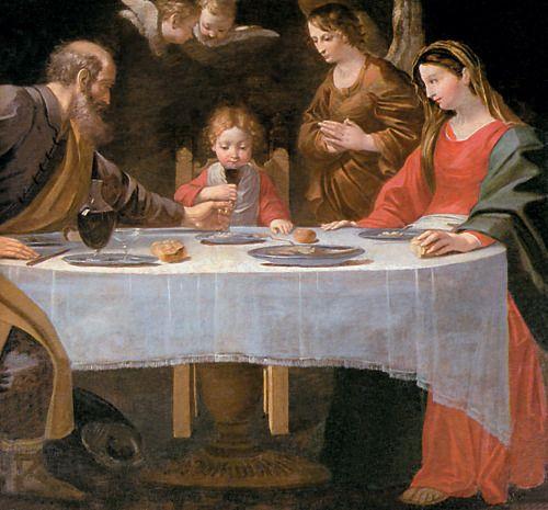Scuola di Guido Reni, Sacra Famiglia a tavola, XVII sec., Quadreria arcivescovile, Milano