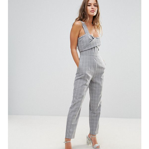 Fashion Union Petite Wrap Front Jumpsuit With One Shoulder Detail ($59) ❤ liked on Polyvore featuring jumpsuits, grey, petite, romper jumpsuit, tall romper, party jumpsuits, one shoulder jumpsuit and petite jumpsuit
